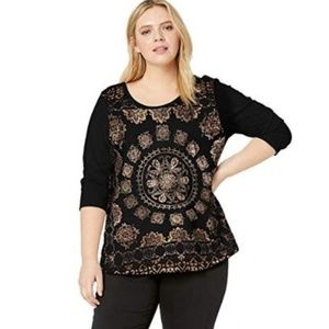 Lucky Brand Plus Size Foil Medallion Top 2X